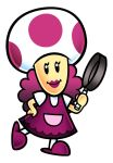 1girl frying_pan lipstick makeup mario_party mario_party_advance mrs._shroomlock official_art slippers super_mario_bros.