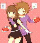 !! 1boy 1girl 90s ako_(ako0905) blue_(pokemon) blue_(pokemon)_(classic) brown_eyes brown_hair dress gloves musical_note ookido_green pokedex pokemon pokemon_(game) pokemon_rgby