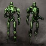 abstract_background armor character_sheet dc_comics doll_joints fist full_body glowing glowing_eyes gradient gradient_background green_eyes green_lantern green_lantern_(series) looking_at_viewer no_humans robot solo standing stel