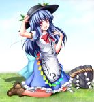 1girl :d adjusting_clothes adjusting_hat aka_tawashi black_hat blue_hair blue_skirt blush boots bow bowtie breasts brown_boots cross-laced_footwear dress_shirt food frills fruit full_body hat highres hinanawi_tenshi keystone kneeling lace-up_boots leaf light_particles long_hair looking_at_viewer open_mouth peach petticoat puffy_short_sleeves puffy_sleeves rainbow_order red_bow red_bowtie red_eyes shirt short_sleeves sidelocks skirt small_breasts smile solo touhou white_shirt