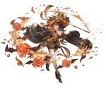 1girl ange_d'erlanger arm_up bat_wings boots brown_eyes brown_hair cape detached_sleeves flower frills full_body granblue_fantasy hand_on_hip hat holding holding_sword holding_weapon juliet_sleeves long_sleeves minaba_hideo open_mouth puffy_shorts puffy_sleeves pumpkin shorts simple_background smile solo sword weapon white_legwear wings