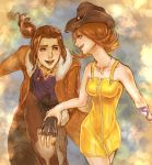 1boy 1girl breasts brown_hair cowboy_hat final_fantasy final_fantasy_viii flipped_hair gloves green_eyes hand_grab hat highres irvine_kinneas jacket long_hair open_mouth selphie_tilmitt short_hair skirt smile yellow_skirt