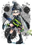 1girl beanie bike_shorts black_eyes black_hair black_legwear black_shoes black_shorts blush closed_mouth domino_mask full_body harutarou_(orion_3boshi) hat hero_charger_(splatoon) holding holding_weapon inkling long_hair long_sleeves looking_at_viewer mask neckerchief paint_splatter pointy_ears sailor_collar shirt shoes shorts socks solo splatoon standing tentacle_hair weapon