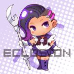 1girl bishoujo_senshi_sailor_moon boots bow brooch chibi color_connection cosplay earrings eclosion elbow_gloves eyeshadow full_body gloves halftone halftone_background jewelry knee_boots long_hair looking_at_viewer lowres makeup mole no_nose overwatch purple purple_background purple_boots purple_bow purple_hair purple_skirt sailor_collar sailor_saturn sailor_saturn_(cosplay) saturn_symbol silence_glaive skirt smile solo sombra_(overwatch) standing violet_eyes white_background white_gloves
