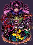 abs armor artist_name badge bodysuit cape carnage_(marvel) claws clenched_hand clenched_teeth coat crossed_arms deadpool doctor_doom electricity electro_(spider-man) evil_grin evil_smile eye_of_agamotto fingerless_gloves frown galactus gloves grin hammer hand_on_own_chin helmet highres hood infinity_gauntlet juggernaut_(x-men) loki_(marvel) long_tongue magneto marvel mask mjolnir modok monster muscle purple_gloves purple_skin red_eyes red_skin red_skull sharp_teeth shield shuma_gorath signature skin_tight smile spider-man_(series) suparu_(detteiu) sword taskmaster teeth tentacle thanos tongue venom_(marvel) weapon yellow_eyes yellow_gloves