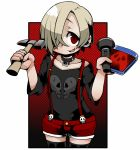 1girl ayame_(0419) black_legwear blonde_hair choker cowboy_shot dvd_case ear_piercing flashlight hair_over_one_eye hammer idolmaster idolmaster_cinderella_girls looking_at_viewer piercing red_background red_eyes shirasaka_koume shirt short_shorts shorts skull skull_print smile solo suspenders t-shirt thigh-highs