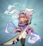 animal_ears black_legwear blazer bunny_ears dual_wielding firing gangsta_hold ghost gun hairband if_they_mated katana konpaku_youmu konpaku_youmu_(ghost) myon necktie o_o panties purple_hair rabbit_ears red_eyes reisen_udongein_inaba shell_casing shokkin short_hair skirt skirt_lift skirt_set speed_lines sword tears thigh-highs thighhighs touhou umyonge underwear weapon