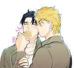 /\/\/\ 2boys blonde_hair blue_hair blush bread dio_brando feeding food jojo_no_kimyou_na_bouken jonathan_joestar mikasa_ackerman multiple_boys parody red_eyes sasha_browse shingeki_no_kyojin tpsn