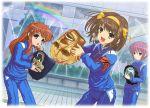 asahina_mikuru breath fountain gorilla gym_uniform hi-ho- mask multiple_girls nagato_yuki rainbow scream_(movie) suzumiya_haruhi suzumiya_haruhi_no_yuuutsu track_suit