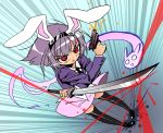 @_@ bunny_ears ghost gun hairband if_they_mated katana konpaku_youmu konpaku_youmu_(ghost) myon necktie purple_hair rabbit_ears red_eyes reisen_udongein_inaba shokkin short_hair skirt sword thigh-highs thighhighs touhou umyonge weapon