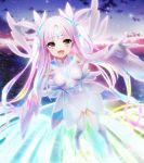 1girl black_eyes breasts city clouds detached_sleeves facial_mark feet flying forehead_mark full_body game_cg gloves hair_ornament hair_ribbon happy highres legs long_hair looking_at_viewer nitroplus ocean oosaki_shin'ya open_mouth outdoors pink_hair ribbon shiny shiny_hair sky small_breasts smile solo substance-concept thigh-highs thigh_boots thighs tokyo_necro water wide_sleeves wings