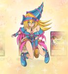 1girl artist_request bare_legs bare_shoulders blonde_hair boots breasts dark_magician_girl duel_monster female hat highres large_breasts legs long_hair magical_girl serious skirt solo wand wizard_hat yu-gi-oh! yuu-gi-ou_duel_monsters