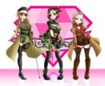 3girls amputee artist_request blonde_hair blue_eyes boots breasts brown_hair cleavage eyepatch fingerless_gloves gloves gun handgun high_heels kazuhira_miller looking_at_viewer metal_gear_(series) metal_gear_solid metal_gear_solid_v multiple_girls revolver revolver_ocelot scar scarf sunglasses venom_snake violet_eyes weapon
