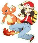 00s backpack blue_eyes brown_eyes charmeleon fire hat poke_ball pokemon pokemon_(game) pokemon_frlg pumpkinpan red_(pokemon)