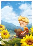 1boy blonde_hair boney clouds dog flower lucas mother_(game) mother_(series) mother_3 niko_geyer nintendo outdoors short_hair sitting