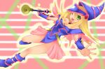 1girl bare_shoulders blonde_hair breasts dark_magician_girl duel_monster full_body green_eyes hat legs long_hair magical_girl skirt smile solo wand wink wizard_hat yu-gi-oh! yuu-gi-ou_duel_monsters
