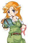 1girl belt doris_wave female giant_gorg gloves hat headset hot long_hair maman orange_hair simple_background solo visor_cap white_background