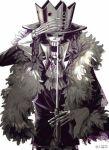 1boy brook crown feather_boa male_focus monochrome one_piece skeleton solo sword