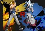 androgynous artist_request basho_(pokemon) blonde_hair blue_eyes buson_(pokemon) poke_ball pokemon pokemon_(anime) skarmory steelix sunglasses team_rocket uniform