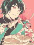 <3 1boy 1girl eating flat_color fork knife lie_ren minigirl nora_valkyrie pancake pixiv_manga_sample rwby simple_background smile yukataro