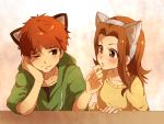 1boy 1girl animal_ears blush brown_eyes brown_hair cat_ears closed_mouth commentary_request digimon digimon_adventure eye_contact hetero izumi_koushirou long_hair looking_at_another mimxxpk shirt simple_background tachikawa_mimi