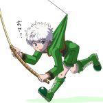 1boy blush child fishing_rod hunter_x_hunter kaminosaki killua_zoldyck male_focus simple_background solo white_background