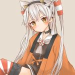 1girl amatsukaze_(kantai_collection) black_hairband brown_dress cocoperino dress garter_straps grey_background hair_tubes hairband happi head_tilt japanese_clothes kantai_collection long_hair looking_at_viewer oni_horns sailor_dress short_dress silver_hair simple_background smokestack_hair_ornament solo striped striped_legwear thigh-highs two_side_up windsock