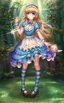 1girl aaeru alice_(wonderland) alice_in_wonderland blonde_hair blue_eyes dress headdress long_hair looking_at_viewer plant socks solo striped_socks teapot tree