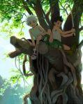 2boys brit child fishing_rod forest gon_freecss hunter_x_hunter killua_zoldyck male_focus multiple_boys nature outdoors smile tree