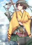 1girl aircraft airplane blue_sky blurry brown_hair clouds commentary_request cowboy_shot day depth_of_field flight_deck gloves green_hakama hakama hakama_skirt headband hiryuu_(kantai_collection) japanese_clothes kantai_collection kimono looking_to_the_side ocean one_side_up outdoors partly_fingerless_gloves quiver shohei_(piranha5hk) short_hair side_ponytail sky smoke solo yellow_kimono yugake