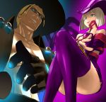 1boy 1girl alternate_color arc_system_works ass bare_shoulders blonde_hair blue_eyes boots breasts coat dress fingerless_gloves fingernails gloves glowing glowing_eyes grin guilty_gear hat i-no johnny_(guilty_gear) leather leather_boots legs_crossed nail_polish platinum_blonde rokuro sharp_fingernails short_dress short_hair smile sunglasses thigh_boots witch_hat zaki_(narashigeo)