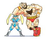 1boy 1girl beard bryan_mann capcom chest_hair facial_hair mohawk rainbow_mika street_fighter twintails wrestling_outfit zangief