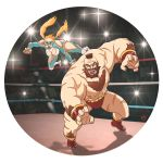 1boy 1girl beard blonde_hair brown_hair capcom chest_hair crowd evan_shiemke facial_hair looking_at_viewer mohawk rainbow_mika street_fighter street_fighter_v twintails wrestling_outfit wrestling_ring zangief