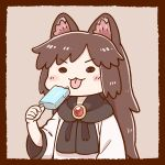 1girl animal_ears black_scarf brooch brown_hair candy commentary_request dress eating food imaizumi_kagerou jewelry lollipop long_hair long_sleeves poronegi scarf touhou white_dress wide_sleeves wolf_ears