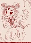 1girl dated extra_eyes fangs itimu looking_at_viewer monochrome monster_girl muffet multi_limb multiple_arms short_hair short_twintails simple_background solo spider spider_girl twintails undertale