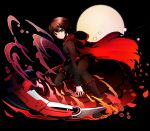 1girl fire lancefate moon petals rose_petals ruby_rose rwby scythe solo