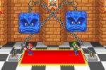 2boys aliasing animated animated_gif carpet castle chains checkered checkered_floor indoors luigi mario mario_party mario_party_advance multiple_boys saw super_mario_bros. thwomp