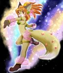 1girl animal_ears barefoot breasts feet female fox fukuwan full_body furry gradient gradient_background open_mouth orange_hair pawpads paws ponytail red_eyes soles solo tail toes