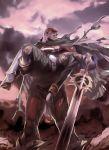 cape captain_zeon garma_zabi gundam mask military military_uniform mobile_suit_gundam official_art purple_hair superhero sword uniform weapon zeon
