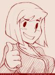 1girl blush breasts cleavage fallout fallout_4 itimu looking_at_viewer monochrome simple_background solo thumbs_up vault_suit