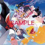 1boy 1girl agumon black_pants blue_hair claws cover creature digimon digimon_world_-next_0rder- female fur gabumon goggles goggles_around_neck green_eyes grey_jacket grey_shoes highres horn multicolored_hair official_art open_mouth pants ponytail print_shirt red_eyes shiki_(digimon_world_-next_0rder-) shirt shoes sky taiki_(luster) takuto_(digimon_world_-next_0rder-) tongue two-tone_hair watermark