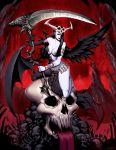 bat_wings black_hair blood bones genzoman goddess hela loincloth long_hair pale_skin scythe skull tagme wings