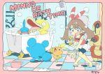 10s 1girl blush bubbles haruka_(pokemon) marill mudkip nintendo onimotsu pokemon pokemon_(game) pokemon_oras psyduck soap spinda torchic