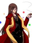 1boy black_pants black_vest brown_eyes brown_hair cigar commentary_request eyebrows_visible_through_hair fate/grand_order fate_(series) hair_between_eyes hand_in_pocket holding_cigar long_coat long_hair long_sleeves looking_at_viewer lord_el-melloi_ii pants sako_(bosscoffee) shirt sidelocks smoke solo standing vest waver_velvet white_background