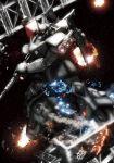 bonyama explosion gelgoog gundam highres mecha mobile_suit_gundam space weapon zeon
