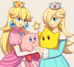 2girls 2others adorable blonde_hair blue_eyes chiko_(mario) crossover crown dress hal_laboratory_inc. hoshi_no_kirby human kirby kirby_(series) multiple_girls nail_polish nintendo nintendo_ead pink_dress pink_puff_ball princess princess_peach rosetta_(mario) sora_(company) star super_mario_bros. super_mario_galaxy super_smash_bros. super_smash_bros_for_wii_u_and_3ds wand wusagi2