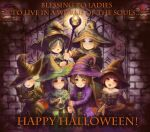 6+girls artist_request black_hair blonde_hair blue_eyes blush brown_hair dark_souls demon's_souls from_software green_eyes halloween hat lips looking_at_viewer maiden_in_black multiple_girls pumpkin red_eyes souls_(from_software) witch witch_beatrice witch_hat yuria_the_witch