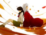 1boy 1girl animal_ears back_to_back black_hair brown_eyes couple dog_ears higurashi_kagome inuyasha inuyasha_(character) japanese_clothes long_hair school_uniform serafuku sword weapon white_hair yellow_eyes