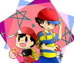 2boys black_hair cap crossover mother_(series) multiple_boys ness nintendo pokemon pokemon_trainer short_hair super_smash_bros.