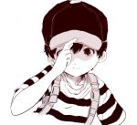 1boy black_hair cap monochrome mother_(series) ness nintendo short_hair simple_background solo
